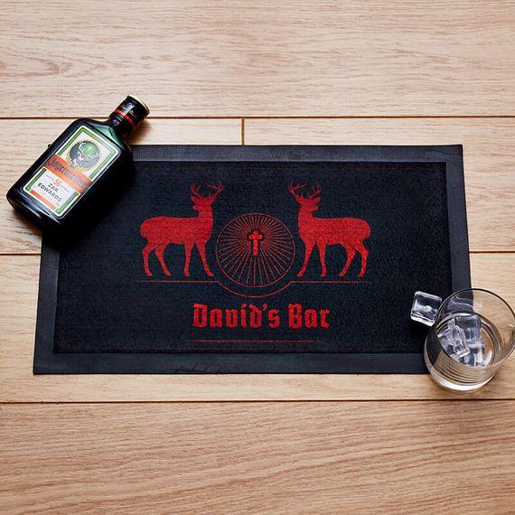 Personalised Deer Design Bar Mat
