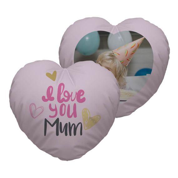 Personalised I Love You Mum Heart Cushion