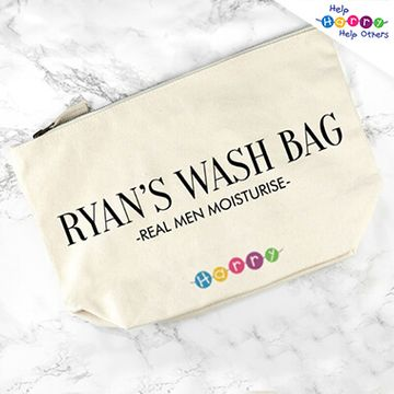 Help Harry Help Others Personalised Cream Canvas Wash Bag