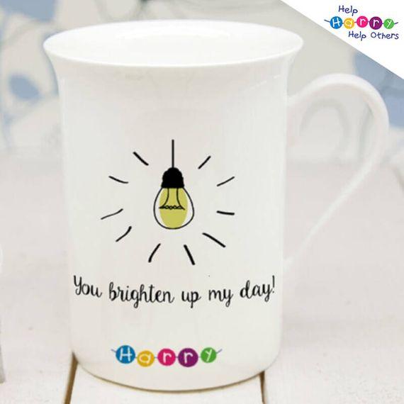 Help Harry Help Others Personalised Brighten My Day Bone China Mug