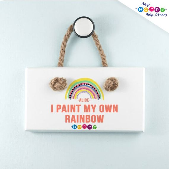 Help Harry Help Others Personalised My Own Rainbow White Hanging Sign