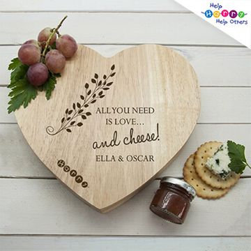 Help Harry Help Others Personalised Heart Cheese Board