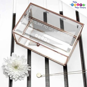 Help Harry Help Others Personalised Rose Gold Glass Jewellery Box