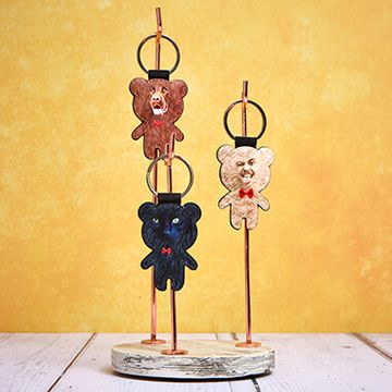 Personalised Teddy Bear Face Keyring