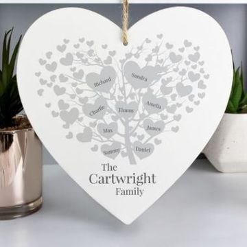 Personalised Family Tree Large Wooden Heart