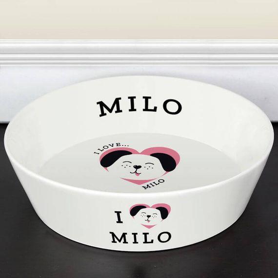 Personalised I Love my Dog - Large Ceramic Pet Bowl