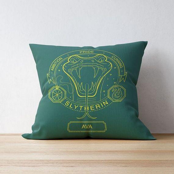 Personalised Slytherin House Emblem Cushion