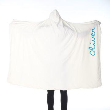 Personalised Blue Name Adults Hooded Blanket