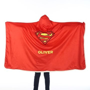 Personalised Superman Kids Hooded Blanket
