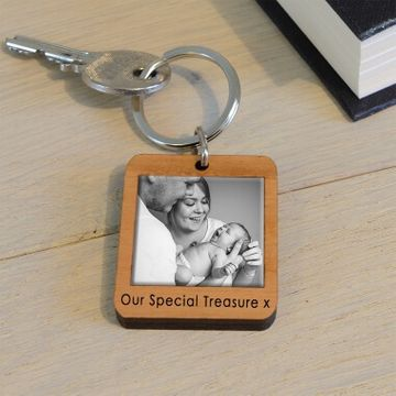 Personalised Wooden Photo Key Ring