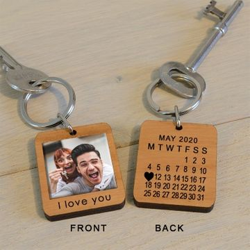 Personalised Wooden Photo and Date Key Ring