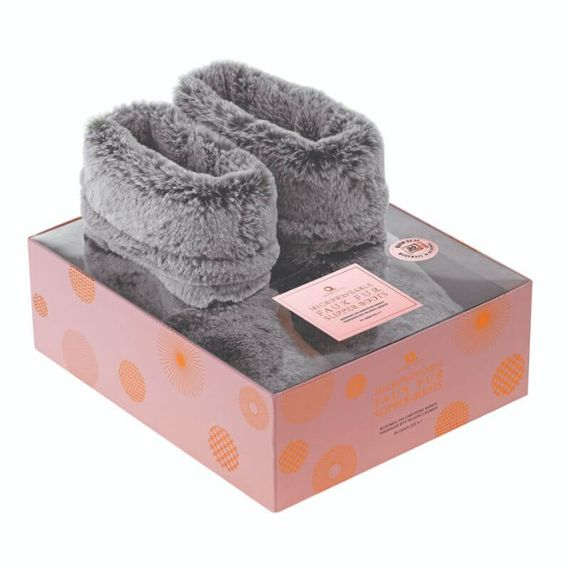 Microwavable Faux Fur Slipper Boots - Grey