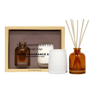 Sandalwood & Cedar Therapy Reed Diffuser & Candle Set