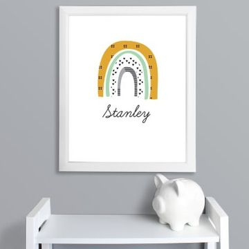 Personalised Rainbow Name Framed Print - Green