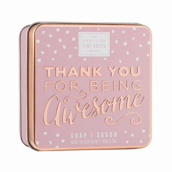 Soap box with 'Thank you for being awesome' engraved on the front.