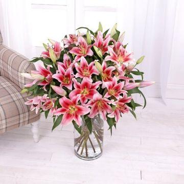 Oriental Pink Lilies Bouquet