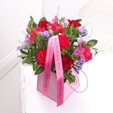Personalised Pink Floral Bouquet in Gift Bag