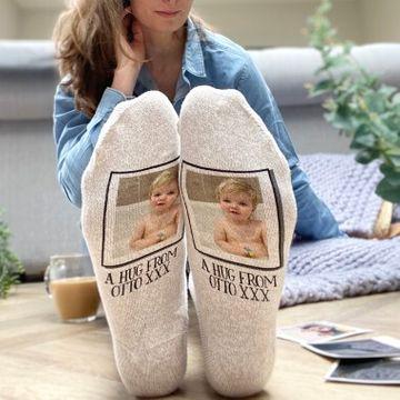Personalised Letterbox Hug Photo Snug Socks