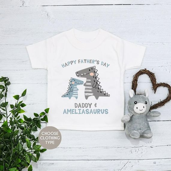 Personalised Happy Fathers Day Dino T-Shirt,  Baby Grow Or Romper