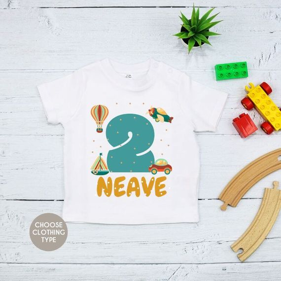 Personalised Retro Transport Theme Birthday T-Shirt
