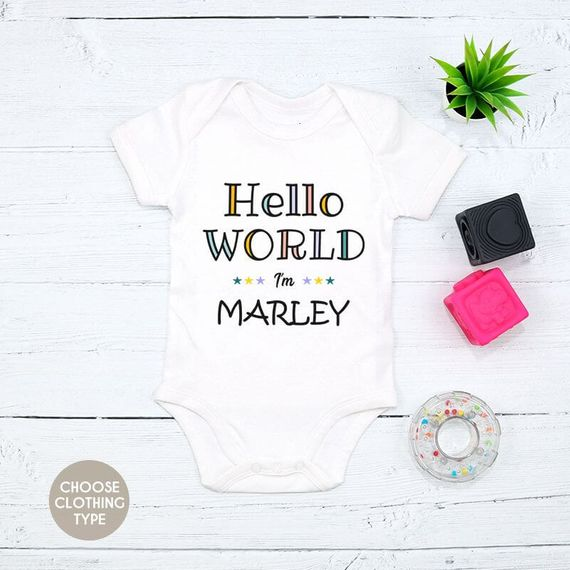 Personalised Colourful Hello World I'm...Baby Grow or T-Shirt