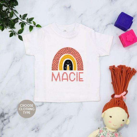 Personalised Polka Dot Rainbow Baby Grow or T-Shirt