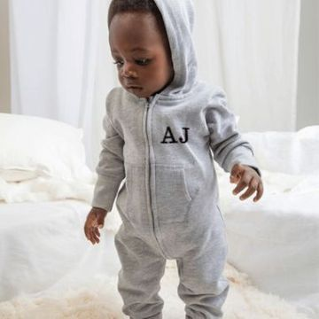 Personalised Hooded Grey Onesie