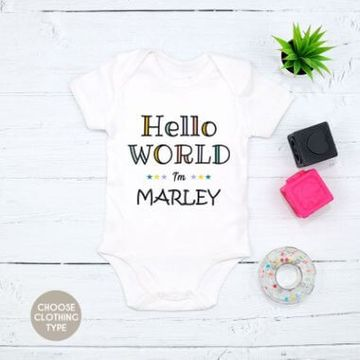 Personalised  Colourful Hello World I'm... Baby Grow or T Shirt
