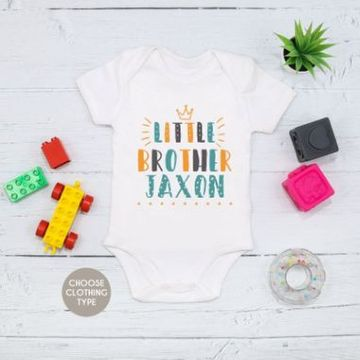 Personalised Colourful Little Brother Baby Grow or T Shirt