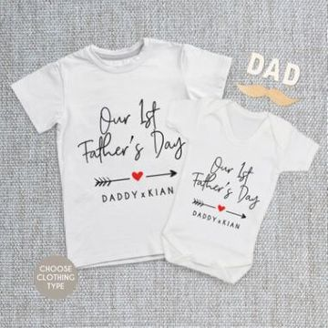Personalised Matching Daddy And Me - Our First Fathers Day Baby Grow, T Shirt or Romper
