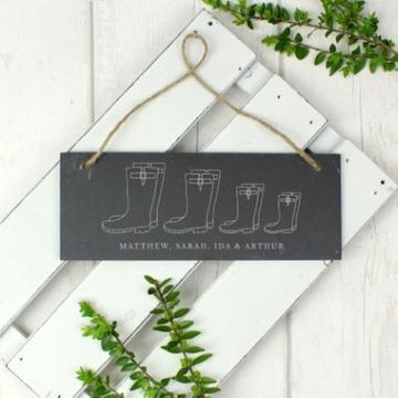 Personalised Welly Boot Hanging Slate Plaque - Family Of 4
