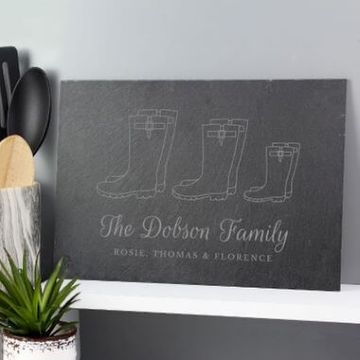 Personalised Our Family Wellies Slate Sign - Family Of 3