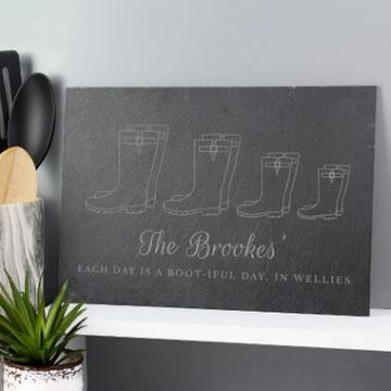 Personalised Our Family Wellies Slate Sign - Family Of 4