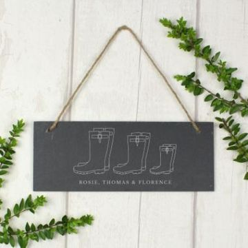 Personalised Welly Boot Hanging Slate Plaque - Family Of 3