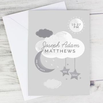 Personalised New Baby Moon And Stars Card