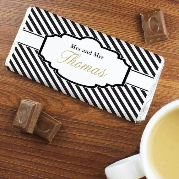Personalised Art Deco Striped Pack of 10 Milk Chocolate Bars