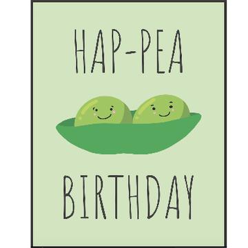 Personalised Hap-Pea Birthday Card