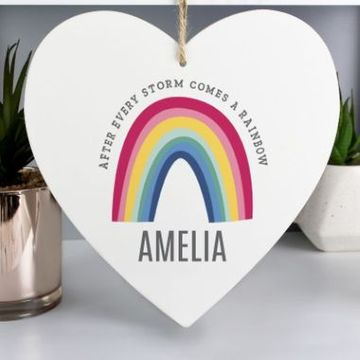 Personalised Rainbow Large Wooden Heart Decoration