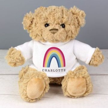 Personalised Rainbow T Shirt Teddy Bear