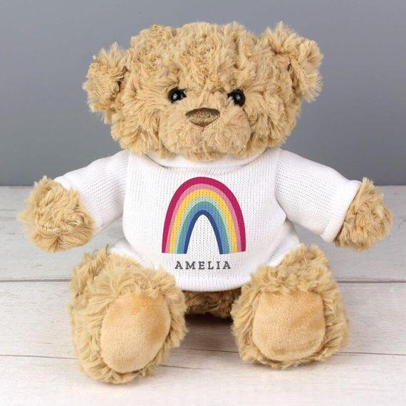 Personalised Rainbow T Shirt Teddy Bear