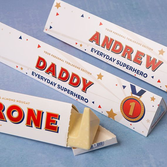 Personalised White Father's Day Toblerone Bar