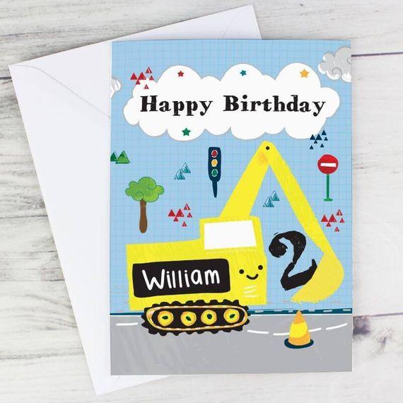 Personalised Digger Birthday Card
