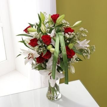 Personalised Red Rose & Lily Bouquet