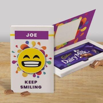 Personalised Keep Smiling Cadbury Dairy Milk Chocolate Card