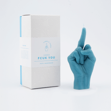 Blue Middle Finger Candle Hand