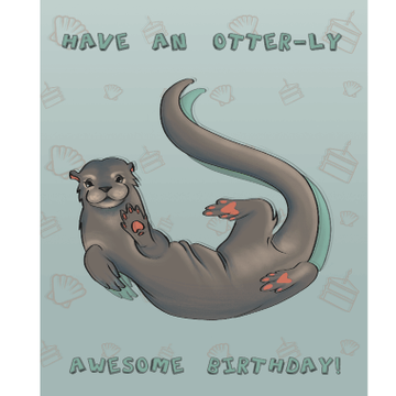 Personalised Otterly Awesome Birthday Card
