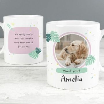 Personalised Botanical Pet Photo Upload Mug