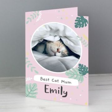 Personalised Botanical Pet Photo Upload Card