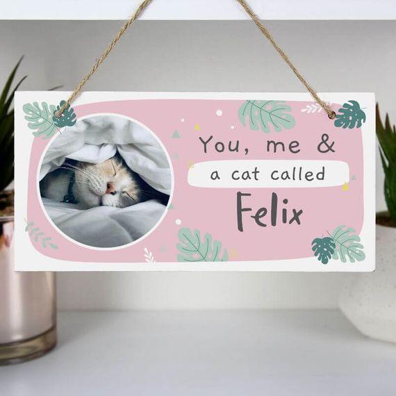 Personalised Botanical Pet Photo Upload Wooden Sign