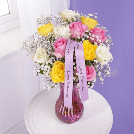 Personalised Roses & Gypsophila with Glass Vase